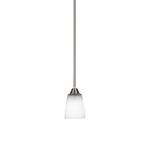 Paramount Brushed Nickel One-Light 10-Inch Mini Pendant with White Muslin Glass