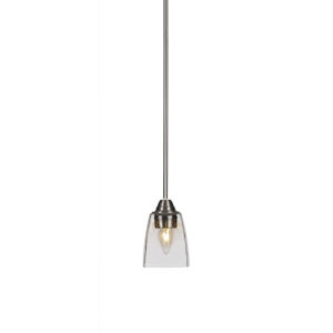 Paramount Brushed Nickel One-Light 10-Inch Mini Pendant with Clear Bubble Glass