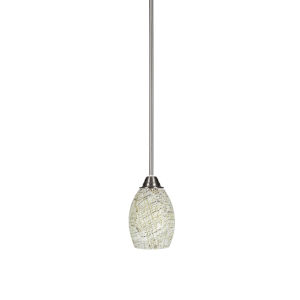 Paramount Brushed Nickel One-Light 5-Inch Mini Pendant with Natural Fusion Glass