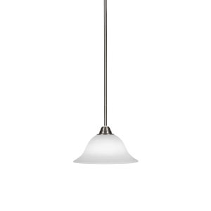 Paramount Brushed Nickel One-Light 10-Inch Pendant with White Linen Glass