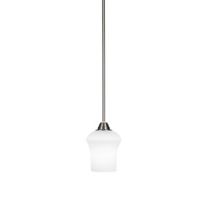 Paramount Brushed Nickel One-Light 6-Inch Mini Pendant with White Linen Glass