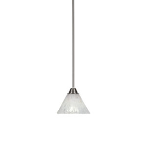 Paramount Brushed Nickel One-Light 7-Inch Mini Pendant with Italian Ice Glass
