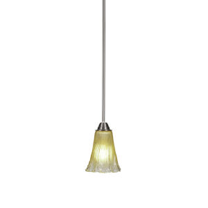 Paramount Brushed Nickel One-Light 6-Inch Mini Pendant with Amber Crystal Glass