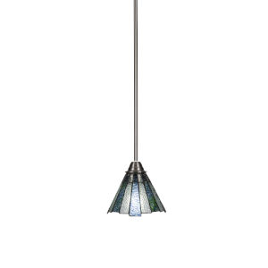 Paramount Brushed Nickel One-Light 7-Inch Mini Pendant with Sea Ice Art Glass