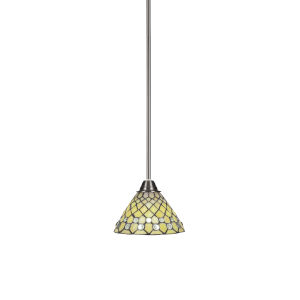 Paramount Brushed Nickel One-Light 7-Inch Mini Pendant with Starlight Art Glass