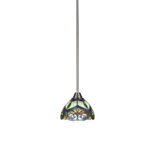 Paramount Brushed Nickel One-Light 7-Inch Mini Pendant with Pavo Art Glass