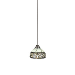 Paramount Brushed Nickel One-Light 7-Inch Mini Pendant with Proyal Merlot Art Glass