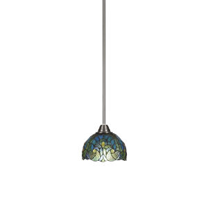 Paramount Brushed Nickel One-Light 7-Inch Mini Pendant with Turquoise Cypress Art Glass