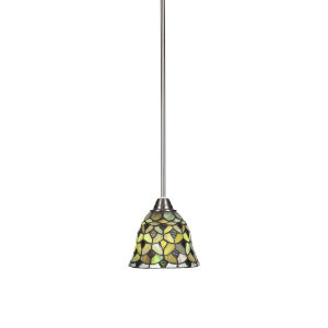 Paramount Brushed Nickel One-Light 7-Inch Mini Pendant with Cresent Art Glass