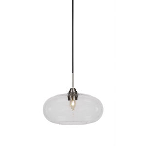 Paramount Matte Black and Brushed Nickel 13-Inch One-Light Pendant with Clear Bubble Glass Shade