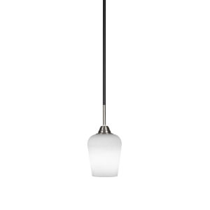 Paramount Matte Black and Brushed Nickel Five-Inch One-Light Mini Pendant with White Muslin Glass Shade