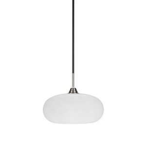 Paramount Matte Black and Brushed Nickel 13-Inch One-Light Pendant with White Muslin Glass Shade