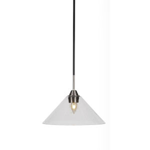 Paramount Matte Black and Brushed Nickel 12-Inch One-Light Pendant with Clear Bubble Glass Shade
