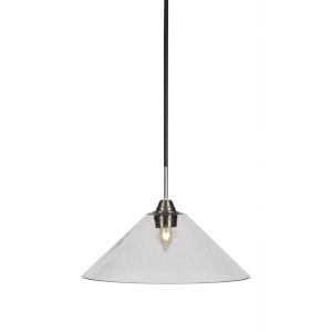 Paramount Matte Black and Brushed Nickel 16-Inch One-Light Pendant with Clear Bubble Glass Shade