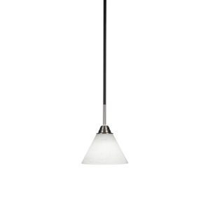Paramount Matte Black and Brushed Nickel Seven-Inch One-Light Cone Mini Pendant with White Muslin Glass Shade