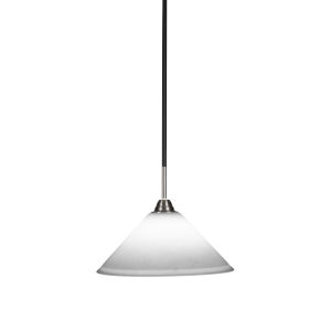 Paramount Matte Black and Brushed Nickel 12-Inch One-Light Pendant with White Muslin Glass Shade