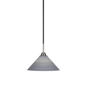 Paramount Matte Black and Brushed Nickel 12-Inch One-Light Pendant with Gray Matrix Glass Shade
