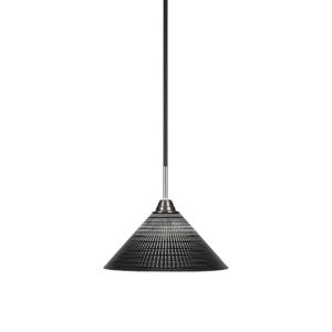 Paramount Matte Black and Brushed Nickel 12-Inch One-Light Pendant with Black Matrix Glass Shade