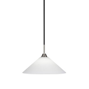 Paramount Matte Black and Brushed Nickel 16-Inch One-Light Pendant with White Matrix Glass Shade