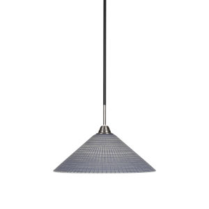 Paramount Matte Black and Brushed Nickel 16-Inch One-Light Pendant with Gray Matrix Glass Shade