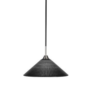 Paramount Matte Black and Brushed Nickel 16-Inch One-Light Pendant with Black Matrix Glass Shade
