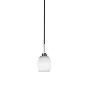 Paramount Matte Black and Brushed Nickel Five-Inch One-Light Mini Pendant with White Matrix Glass Shade