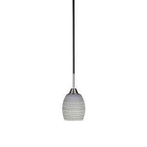 Paramount Matte Black and Brushed Nickel Five-Inch One-Light Mini Pendant with Gray Matrix Glass Shade