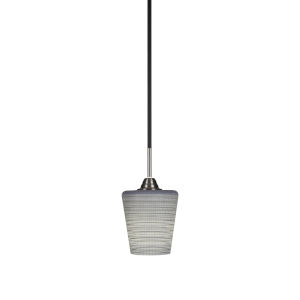 Paramount Matte Black and Brushed Nickel One-Light Mini Pendant with Gray Matrix Glass Shade