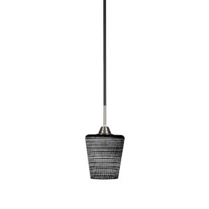 Paramount Matte Black and Brushed Nickel One-Light Mini Pendant with Black Matrix Glass Shade