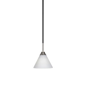 Paramount Matte Black and Brushed Nickel Seven-Inch One-Light Mini Pendant with White Matrix Glass Shade