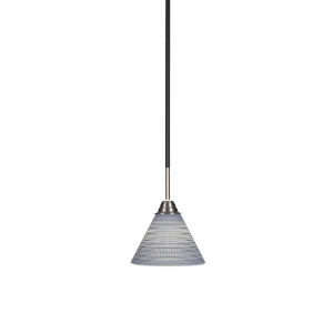 Paramount Matte Black and Brushed Nickel Seven-Inch One-Light Mini Pendant with Gray Matrix Glass Shade