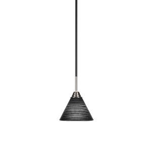 Paramount Matte Black and Brushed Nickel Seven-Inch One-Light Mini Pendant with Black Matrix Glass Shade