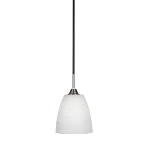 Paramount Matte Black and Brushed Nickel Eight-Inch One-Light Mini Pendant with White Matrix Glass Shade