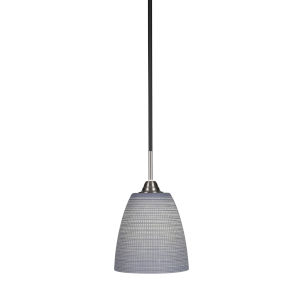 Paramount Matte Black and Brushed Nickel Eight-Inch One-Light Mini Pendant with Gray Matrix Glass Shade