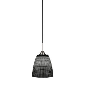 Paramount Matte Black and Brushed Nickel Eight-Inch One-Light Mini Pendant with Black Matrix Glass Shade
