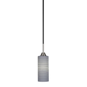 Paramount Matte Black and Brushed Nickel Four-Inch One-Light Mini Pendant with Gray Matrix Glass Shade