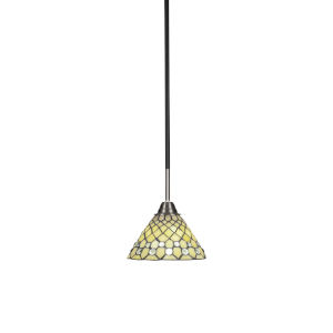 Paramount Matte Black and Brushed Nickel One-Light Mini Pendant with Starlight Art Glass Shade
