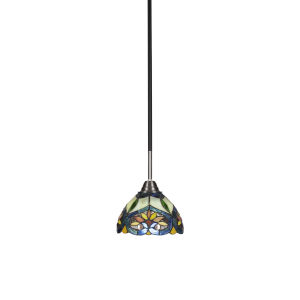 Paramount Matte Black and Brushed Nickel One-Light Mini Pendant with Pavo Art Glass Shade