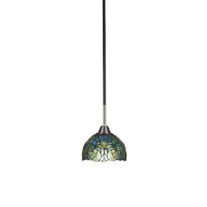 Paramount Matte Black and Brushed Nickel One-Light Mini Pendant with Turquoise Cypress Art Glass Shade