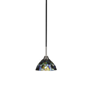 Paramount Matte Black and Brushed Nickel One-Light Mini Pendant with Blue Mosaic Art Glass Shade