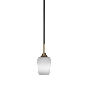 Paramount Matte Black and Brass Five-Inch One-Light Mini Pendant with White Muslin Shade
