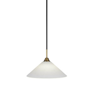 Paramount Matte Black and Brass 16-Inch One-Light Pendant with White Matrix Shade