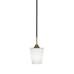 Paramount Matte Black and Brass Six-Inch One-Light Mini Pendant with White Matrix Shade