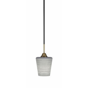 Paramount Matte Black and Brass Six-Inch One-Light Mini Pendant with Gray Matrix Shade