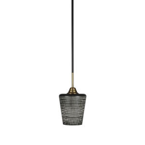Paramount Matte Black and Brass Six-Inch One-Light Mini Pendant with Black Matrix Shade