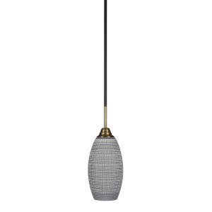 Paramount Matte Black Six-Inch One-Light Mini Pendant with Gray Matrix Shade