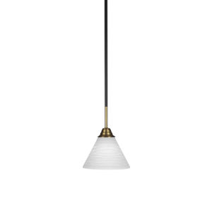 Paramount Matte Black and Brass Seven-Inch One-Light Mini Pendant with White Matrix Shade