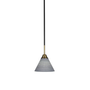 Paramount Matte Black and Brass Seven-Inch One-Light Mini Pendant with Gray Matrix Shade