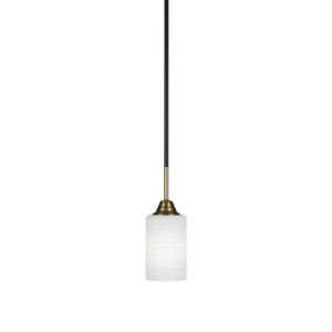 Paramount Matte Black and Brass 11-Inch One-Light Mini Pendant with White Matrix Shade