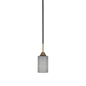 Paramount Matte Black and Brass 11-Inch One-Light Mini Pendant with Gray Matrix Shade